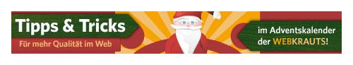Tipps und Tricks im Adventskalender der Webkrauts - Banner